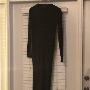 Long Sleeved Fitted Black Sweater Dress